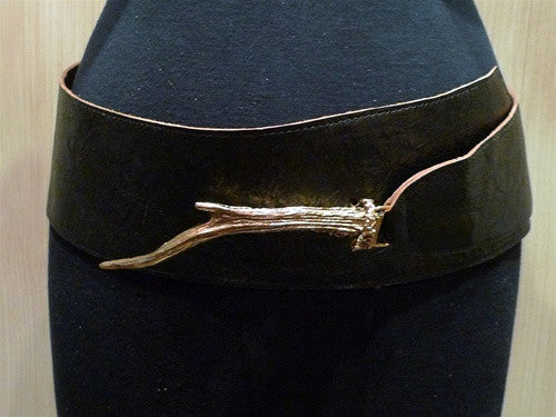 Pade Vavra Brown Leather Belt with Antler Buckle