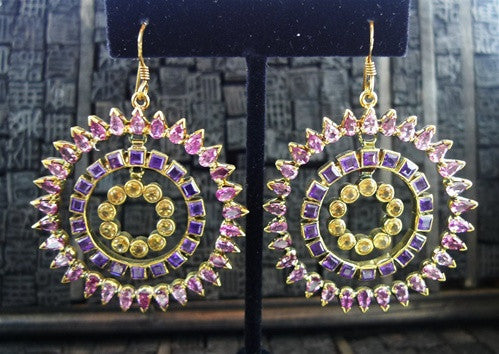 Amrita Singh Tourmaline, Amethyst, and  Peridot Chandelier Earrings