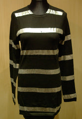 Cake Couture Cashmere CrewNeck Sweater with Silver Metallic Silkscreen Stripes Sweater