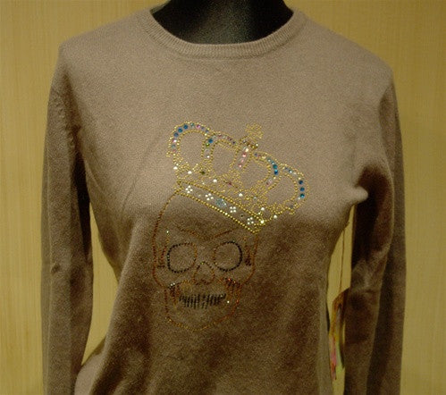 Cake Couture Skull Crystal Embellished Cashmere Crewneck Sweater
