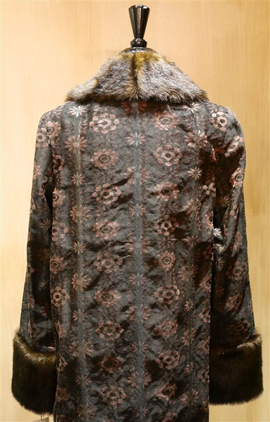 James Coviello Brocade Opera Coat with Faux Fur Collar and Cuffs