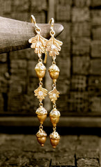 Pade Vavra Acorns and Leaf Diamond Drop Earrings in 18K Peach Gold