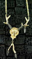 Pade Vavra 18K Peach Gold, Blackened Gold w/ Diamond Leaf Trophy Necklace