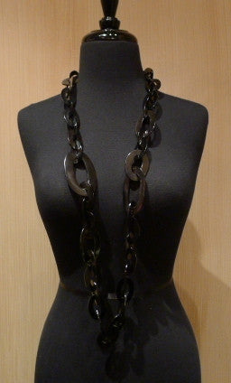 Monies Black Oval Link Chain Necklace