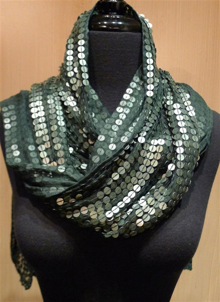 Bajra Silk and Paillette Wrap/Scarf in Deep Hunter Green