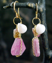 Melissa Joy Manning 14K Yellow Gold and Pink Agate Earrings