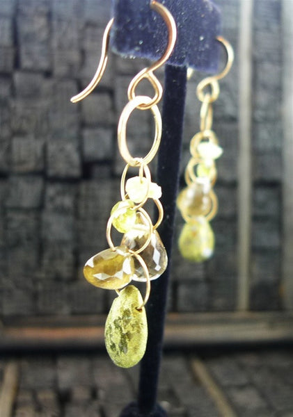 Melissa Joy Manning Mixed Gemstone Drop Earrings in 14K Yellow Gold