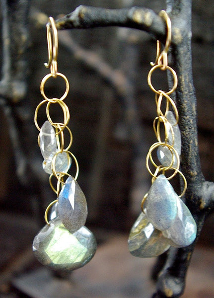 Melissa Joy Manning Labradorite Earrings in 14K Yellow Gold