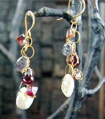 Melissa Joy Manning Pearl, Garnet and Iolite Earrings in 14K Yellow Gold