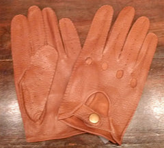 Carolina Amato Men's Leather Driving Gloves in Saddle