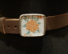 Presh Fabric Fragment - Coral and Green- Buckle Belt