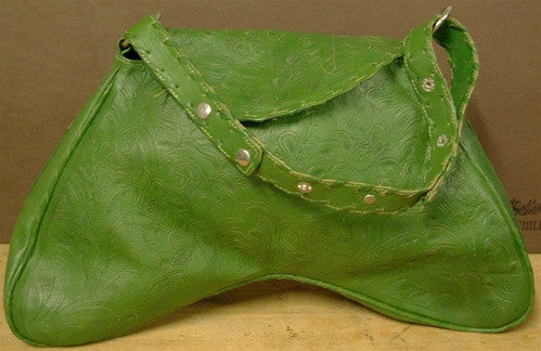 Leaders in Leather Green Curved Handbag