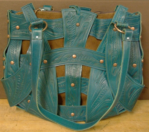 Leaders in Leather Large Turquoise and Brown Handbag