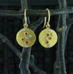 Annie Fensterstock 22k Yellow Gold Pop Earrings with Diamonds and Pink Sapphires