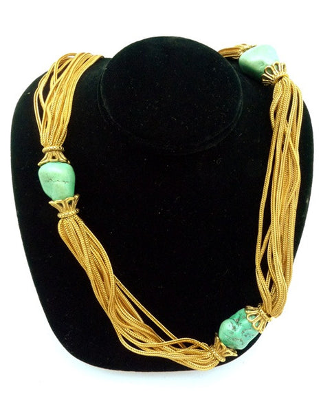 Robert Goossens Multi Strand Gold Vermeil Chain Necklace with Turquoise Nugget Stations