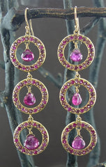 Emily and Ashley Green (Greenbeads) 14K Yellow Small Baby Circle Earrings in Pink Tourm, Ruby, Rhodolite