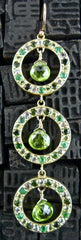 Emily and Ashley Green Sapphire, Peridot, and Green Tourmaline in 14K Yellow Gold Earrings