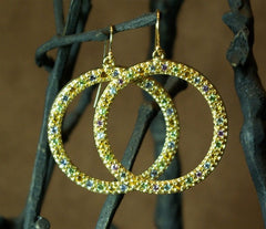 Emily & Ashley Green (Greenbeads) Multi-Sapphire Circle Hoop Earrings