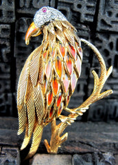 Estate Enameled Parrot Brooch/Pin with Diamonds and Ruby Eye