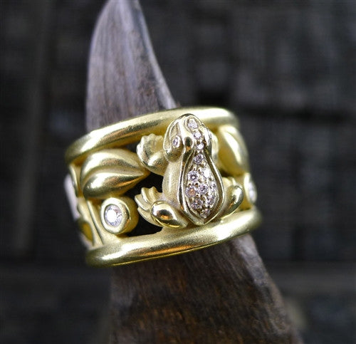 Estate Barry Kieselstein Cord 18K Yellow Gold and Diamond Frog Ring