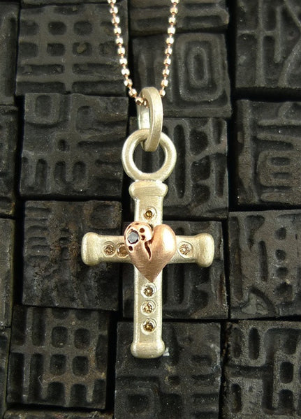 Julez Bryant Sterling Silver and Rose Gold Medium Diamond Cross with Heart