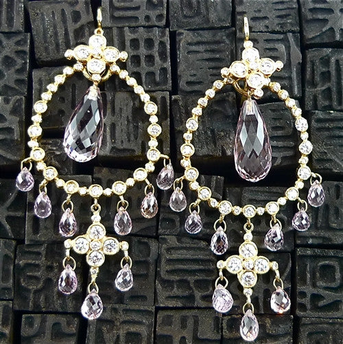 Erica Courtney 18K Yellow Gold, Diamond and Morganite Earring Charms