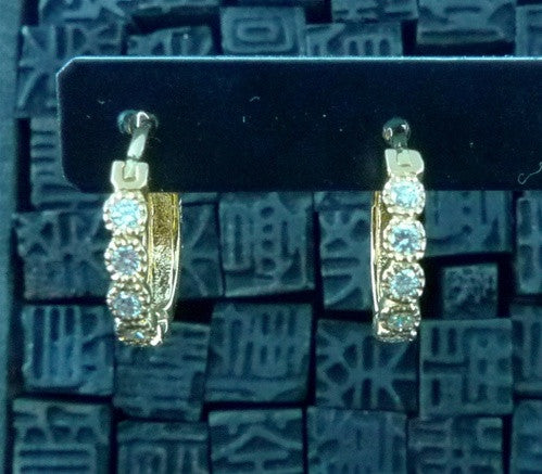 Erica Courtney Bezel Set Diamond Huggie Earrings in 18K Yellow Gold