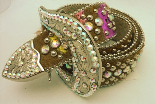 B.B Simon Swarovski Crystal Western Inspired Belt on Pink and Brown Pony Fur Strap