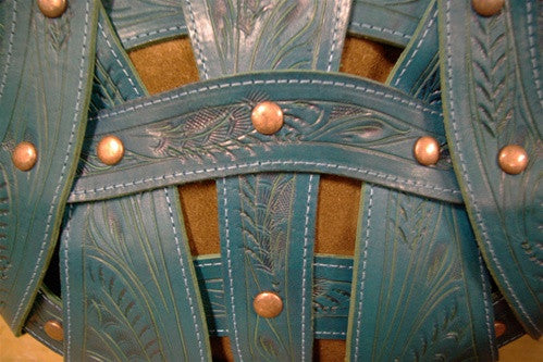 Leaders in Leather Turquoise and Brown Handbag