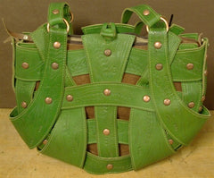 Leaders in Leather Green and Brown Handbag