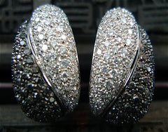 Estate Salavetti Black and White Diamond Earrings in 18K White Gold