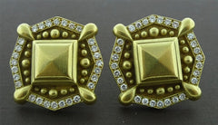 Vahe Naltchayan Diamond and 18K Yellow Gold Euro Clip Earrings