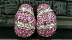 Estate Salavetti Pink Sapphire and Diamond Earrings in 18K Gold