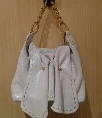Carlos Falchi Flap Handbag in White