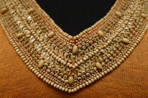 Armand Diradourian Cashmere Sweater with Wooden Bead Embellishment