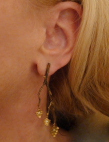 Pade Vavra 18K Yellow Gold with Diamond Leaf Earrings