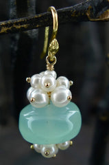 Gabrielle Sanchez Blue Chalcedony and Pearl Earrings 18K YG