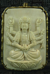 Carved Vintage Ivory Bodhisattva of Compassion Pendant in Vermeil