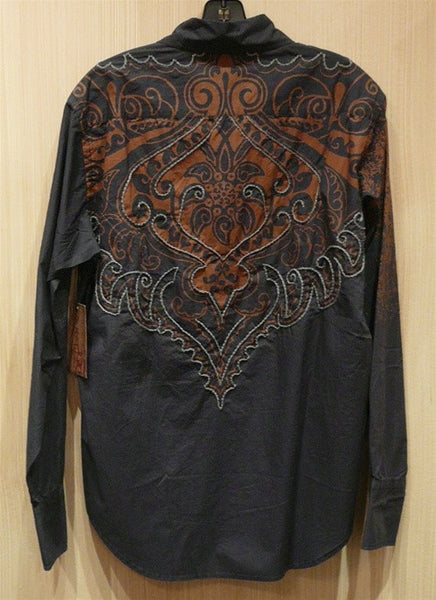 "Raw 7 ""Rain"" Button Up Shirt with Embroidered Shoulder and Yoke of Back"