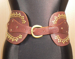 Calleen Cordero Studded Corset Belt in Brown with Brass Studs