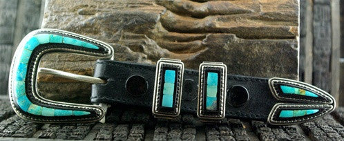 Artifactual Sterling Silver Buckle Ranger Set Inlaid with Turquoise and Ebony