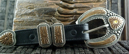 Artifactual Carved Petrified Walrus Tusk Inlaid with Citrine and Sterling Silver Ranger Set Belt Buckle
