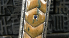 Artifactual Switchblade Pocket Knife with Ancient Mammoth Tusk and Sapphire