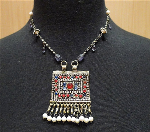 Candice Marks Tribal Necklace with Iolite, Pearls, and Crystals