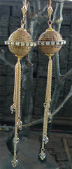 Candace Marks Vintage African Bead Earrings Studded with Swarovski Crystals and Chain Fringe
