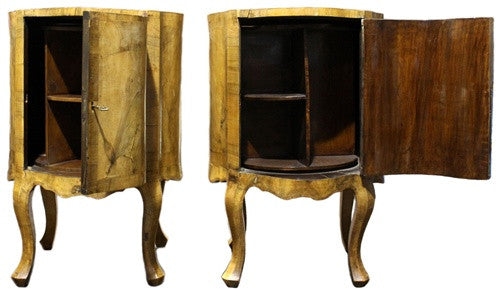 Antique (Pair) Italian Burl Walnut Commodes