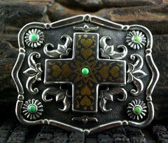 Artifactual Belt Buckle in Chased Sterling Silver with 22K Yellow Gold and Chrysophase