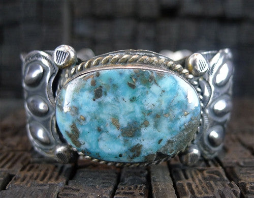 Pawn Silver and Turquoise Cuff Bracelet