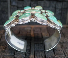 Turquoise and Sterling Silver Old Pawn Cuff Bracelet