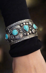 Signed Sterling Silver and Turquoise Cuff Bracelet